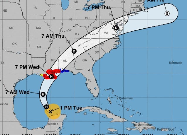 Tuesday's projected track for Tropical Storm Zeta.