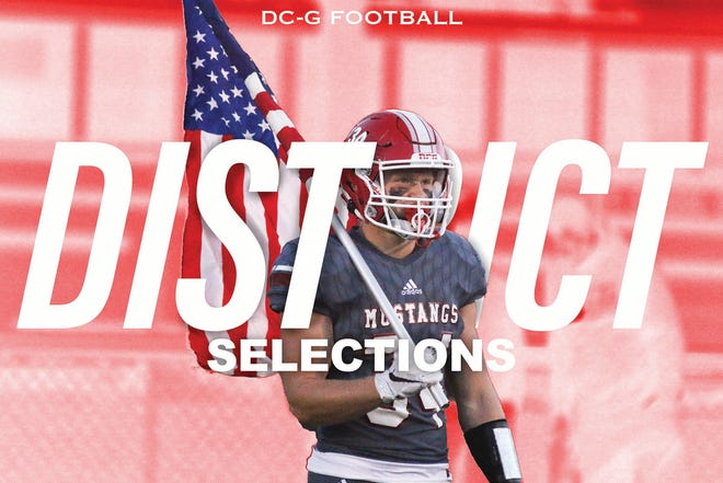 DCG's Zach Brand holds an American Flag prior to a home game this season.