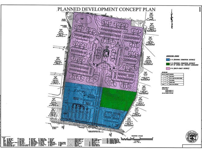 The proposed mixed-use development off Old Port Royal Road includes plans for 516 multi-family residential units, as well as sites for a new grocery store, flex office space and a dedicated portion for Spring Hill Police headquarters.