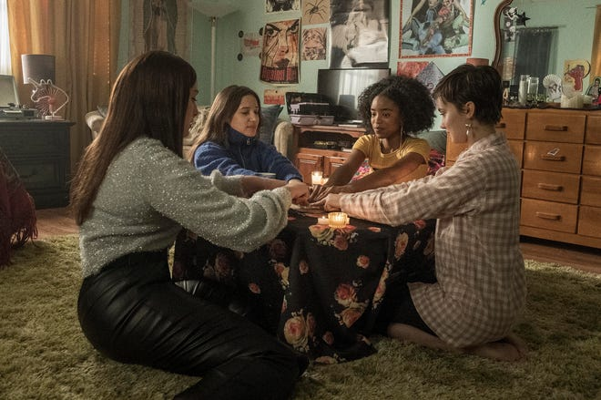 "From left, Zoey Luna, Gideon Adlon, Lovie Simone and Cailee Spaeny star in a scene from ""The Craft: Legacy."""
