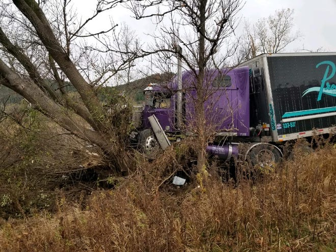 A tractor trailer left the east bound lane of I-86 east at Exit 39 and hit a tree Monday afternoon.