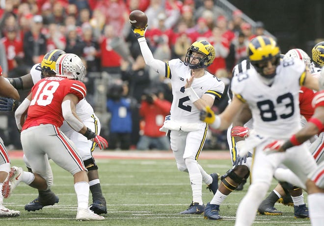 Michigan quarterback Shea Patterson throws a pass against Ohio State during a Nov. 24, 2018, college football game in Columbus, Ohio.