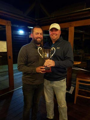 West Burlington High School graduates Tyler Hagerla (left) and Casey Bowen won a golf tournament in Oregon last weekend.