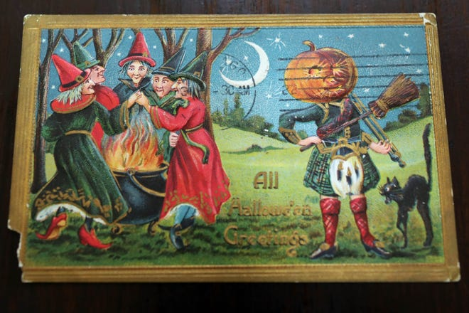 A Halloween-themed postcard, an Out of the Attic item, is shown July 21 at the Des Moines County Heritage Center Museum, 501 N. Fourth St., in Burlington.