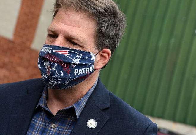 New Hampshire Gov. Chris Sununu , seen outside RP Abrasives in Rochester during the 2020 campaign season, on Thursday ordered a statewide mask mandate to help slow the spread of the coronavirus.