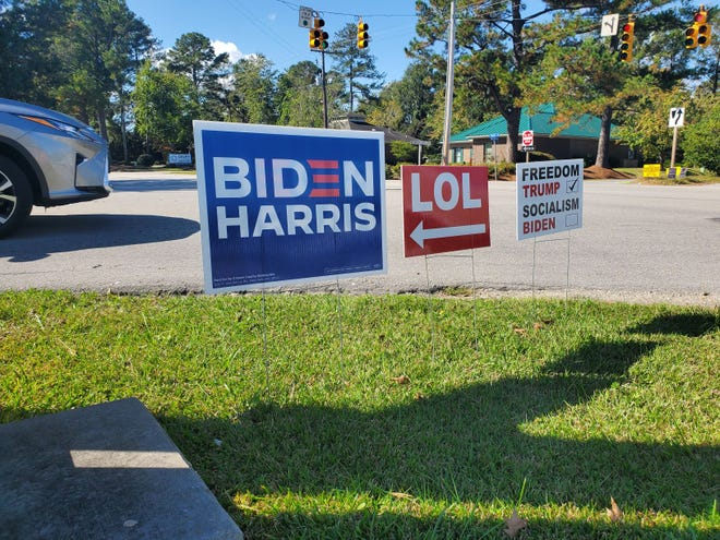 "A Biden/Harris sign was countered with a ""laughing out loud"" sign on Trent Road in New Bern."