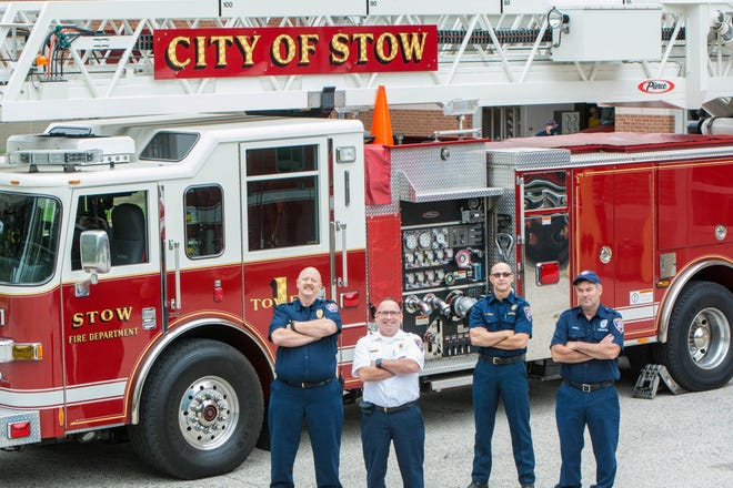 Four of the paramedics who were hired in 1990 when the the Stow Fire Department formed its own EMS are still with the department. They are, from left, Capt. Michael Griffin, Capt. Richard Hohenadel, Lt. Thad Krejci and Firefighter David Daniel.