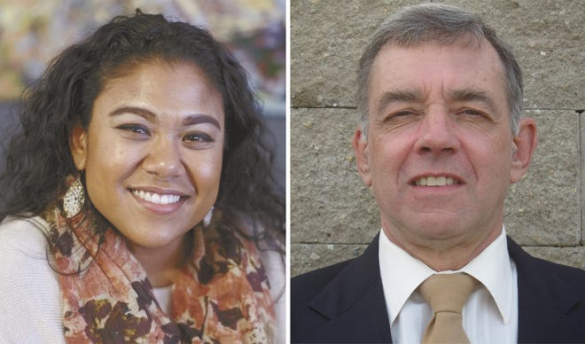 Angela McCalla, left, and Hugo DeAscentis, right, are running for the Ward 1 seat on the Newport City Council.