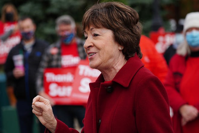 U.S. Sen. Susan Collins R-Maine, made a stop outside the Kittery Trading Post on Tuesday to talk with supporters. [Rich Beauchesne/Seacoastonline]