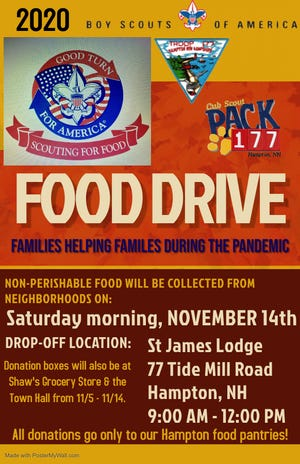 The Boy and Cub Scouts of Troop 177 are conducting its annual food drive to help families in need.
