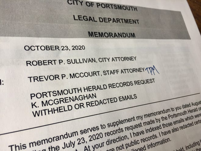 The city of Portsmouth responded to a request from the Portsmouth Herald for emails regarding a payout to a former city police dispatch manager.