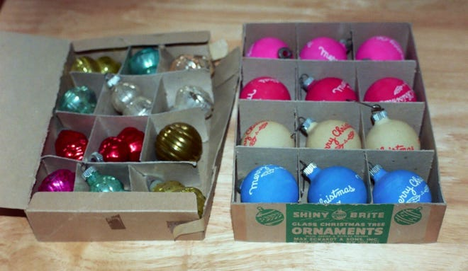Shiny Brite boxed holiday ornaments.