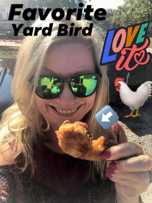 The Social Butterfly displays her favorite fried chicken while at the Victoria Fire and Rescue Truck 'N' Tractor Pull in Lunenburg County on Oct. 24, 2020.