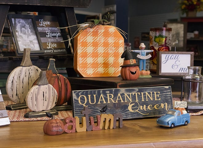 Among the items at the Crooked River Florist, owned by Amanda Yackmack, is this light-hearted reminder of the trouble the country's had with the pandemic.