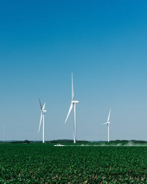 Completed wind turbines at the site of a wind farm under construction in Milligan, Neb., on June 8, 2020.