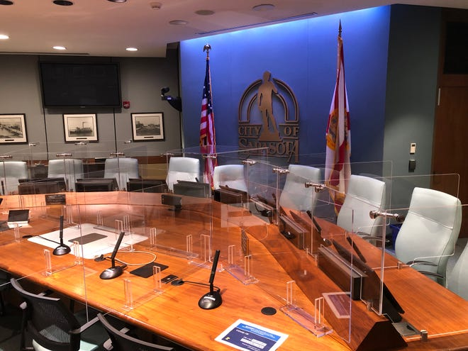 The Sarasota City Commission will resume in-person meetings next week with limited capacity at City Hall and other procedural changes to protect public health.