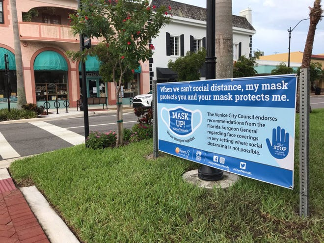 Though the Venice City Council will allow its mask ordinance to sunset at the end of October, a resolution endorsing mask use is still in place, as are several signs in prominent spots urging people to wear masks in any setting where social distancing is not possible.