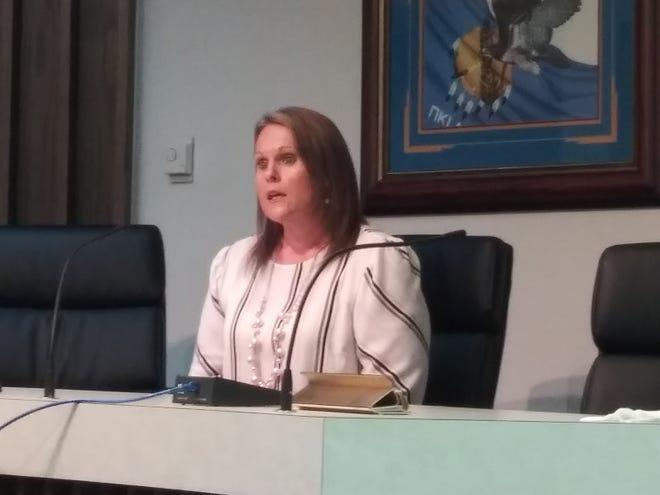 Incumbent Valerie Ueltzen is seeking re-election as Pottawatomie County Court Clerk Nov. 3.