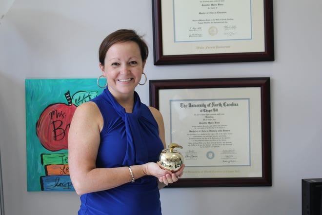 SouthBrunswickHigh School's Jennie Bryan, the 2020-21 Brunswick County School Teacherof the Yearisone of the two finalists for the 2021 Southeast Region Teacher of the Year.