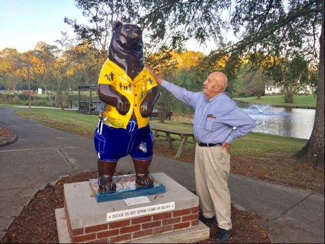 River Bend Mayor John Kirkland welcomes River Ben out of hibernation and to his new home. [CONTRIBUTED PHOTO]