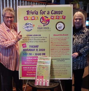 What Is Your Voice Inc. will host Trivia for a Cause, an evening of games with trivia master DJ Rich Shockley, at 7 p.m. Nov. 17 in-person at Bethany Blues, 18385 Coastal Highway, Lewes, and virtually for those who would like to play at home. From left, What Is Your Voice founder and President Jacqueline Sterbach and GFWC Zwaanendael Women's Club President Vickie Burrier.