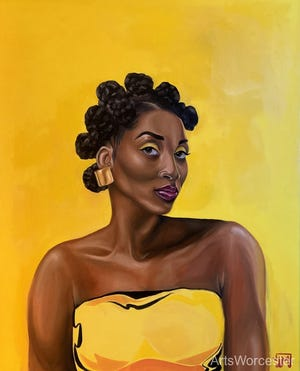 "Dana Mendes' ""No, You Can't Touch My Hair; Bantu Knots"", oil on canvas, is part of ArtsWorcester's  The Eighth Annual One: A Members' Exhibition, on view through Nov."