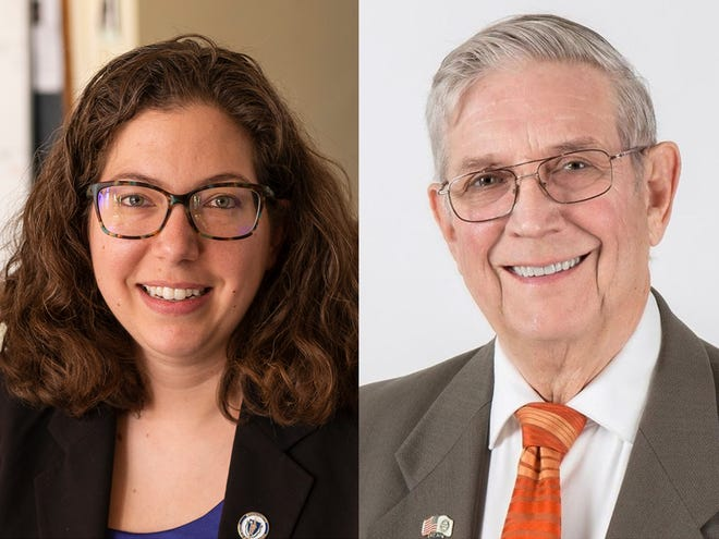 """Thomas """"Frank"""" Ardinger, right, is challenging state Rep. Natalie Higgins for the 4th Worcester District seat, representing Leominster."""