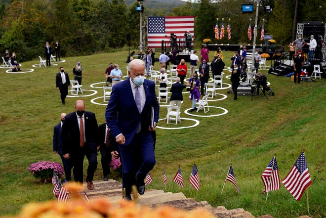 Democratic presidential candidate former Vice President Joe Biden leaves after speaking at Mountain Top Inn & Resort Tuesday in Warm Springs, Ga.