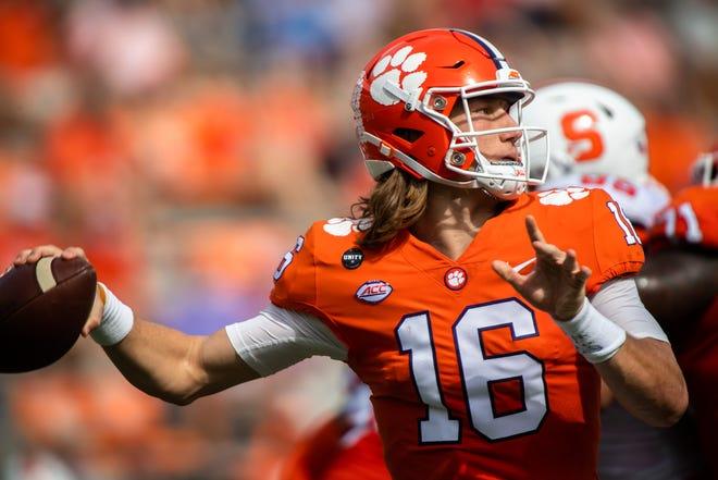 Clemson quarterback Trevor Lawrence faces Boston College at home on Saturday.