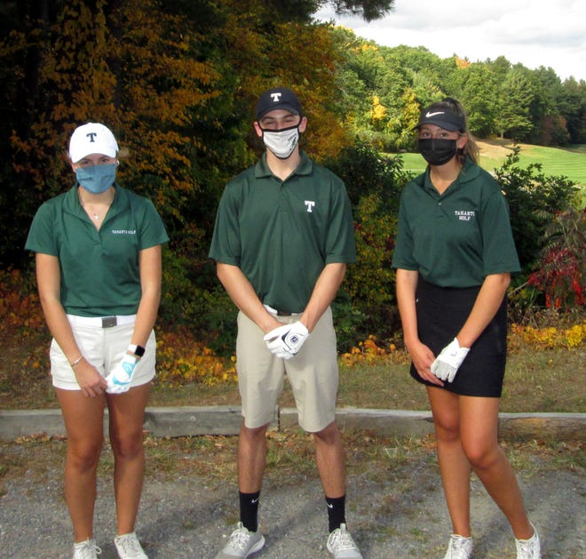 Tahanto golf senior captains are (from left) Emelyn Sullivan, Austin Slack and Sophia Difonzo. [Item Staff/Bill Marsh]