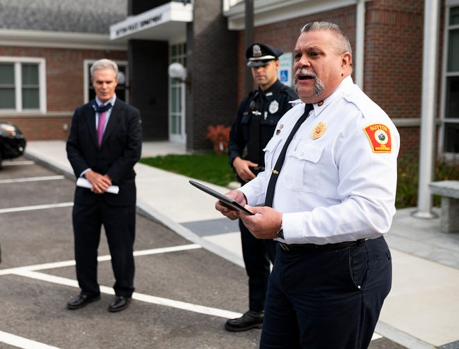 SUTTON - Worcester County District Attorney Joseph Early honored Officer Matthew Pepin and Fire Chief Matthew Belsito with the TEAM Award during a small ceremony on Tuesday, October 27, 2020. In separate incidents, Belsito and Pepin helped save the lives of strangers while off duty over the summer.