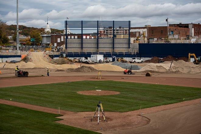 Sod was added to the infield at Polar Park in Worcester's Canal District last month.