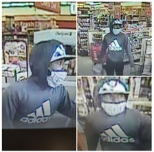 Fayetteville police are trying to identify a man seen in surveillance photos during a robbery Monday. [Contributed photos Fayetteville Police Department]
