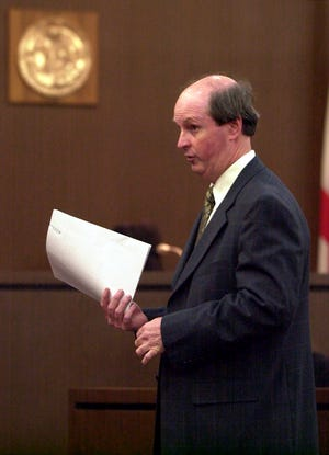 Bill Cervone talks to jury members in a 2001 case shortly after first taking office.