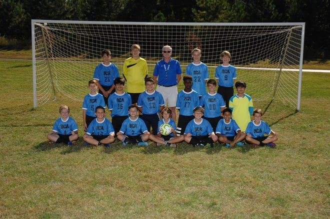 Burlington Christian Academy's middle school soccer team won the Central Carolina Independent Schools Athletic Association conference tournamenton Thursday, Oct. 22. Pictured are: Front row, left to right, Nathan Clark, Cohen Payne, Danny Primm, Justin Gum, Aiden Harrell, Aryam Patel and Chase Shoffner;middle row, Jack Baker, Homero Romo, Alex Hogan, Jonathan Yorke, Bailey Hogan and Danny Romo;back row, Trey Graham, JD Mace, Coach Greg Sanders, Mark Primm and Ben Cockman. Not pictured: Coach Mark McKinney.