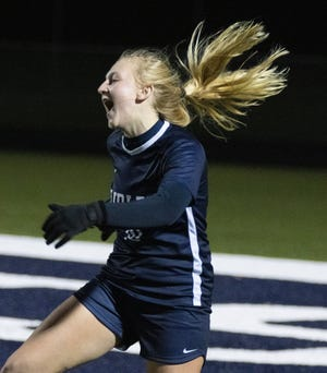 Fariless's Gracie Ashton reacts to her goal kick that scores during the second quarter against Brooklyn on Monday.