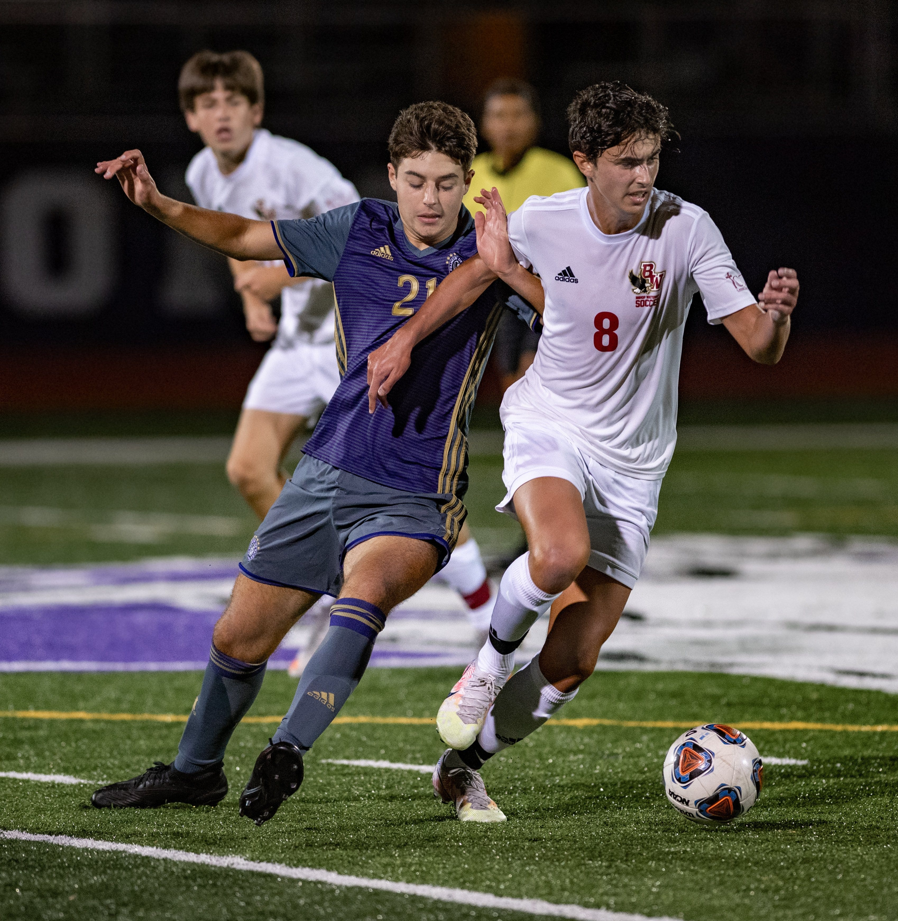 DeSales' Vigo Bertolo (left) and Watterson's Trent Maisano battle during the Stallions' 2-1 win Sept. 15. The teams met again Oct. 31 with a Division II district championship on the line.