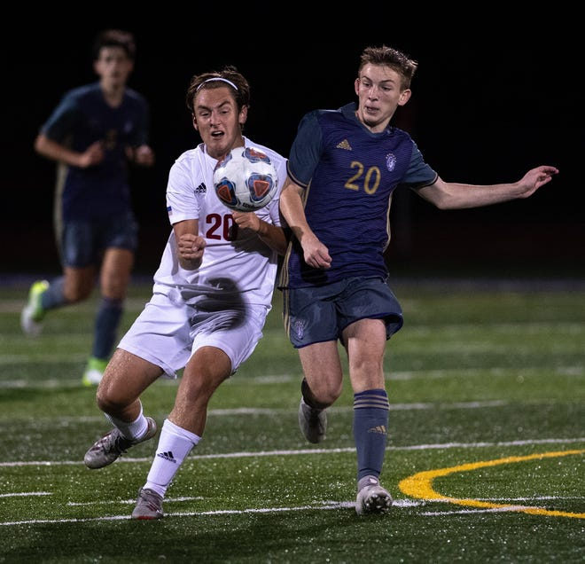 Watterson's Isaac Ohlin (left) takes on DeSales' Zackery Rennie during the Eagles' 2-1 loss Sept. 15. The teams met again in a Division II district final Oct. 31. Watterson reached the game after having only two wins entering the postseason.