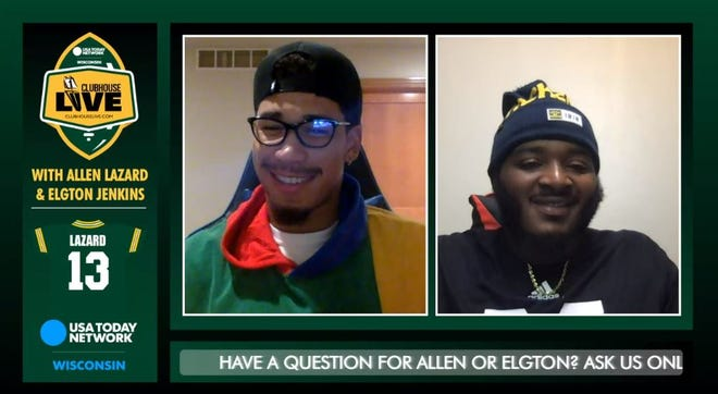 Green Bay Packers wide receiver Allen Lazard (left) co-hosted Monday's Clubhouse Live. Left guard Elgton Jenkins (right) was Lazard's guest.