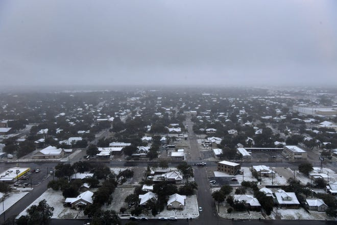 Abilene is shrouded in gloom in this aerial view from the Enterprise Building.