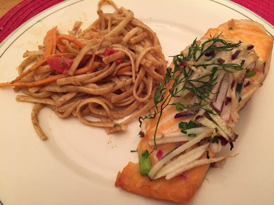 Salmon with kohlrabi radish salsa and Thai noodle salad from Edelweiss Mountain Deli in Stowe on Oct. 23, 2020.