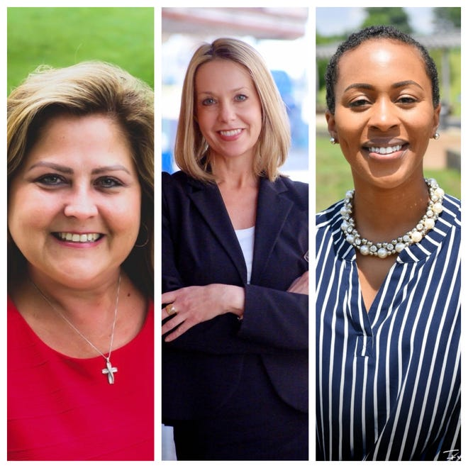 The three candidates for Montgomery County Circuit Court Clerk are Wendy Davis (left), Tracy Provo Knight (center) and Chelsea Camp (right).