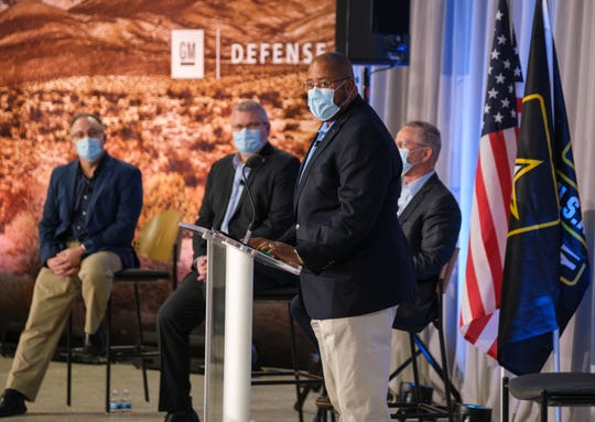 GM Defense President David Albritton spoke Tuesday as the GM subsidiary delivered the first Infantry Squad Vehicles to the U.S. Army.