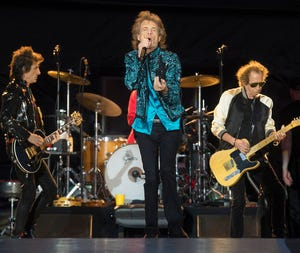 """Mick Jagger, center, Keith Richards, right, and Ronnie Wood, left, of the Rolling Stones perform during the """"No Filter"""" tour in Oro-Medonte, Ontario, on June 29, 2019."""