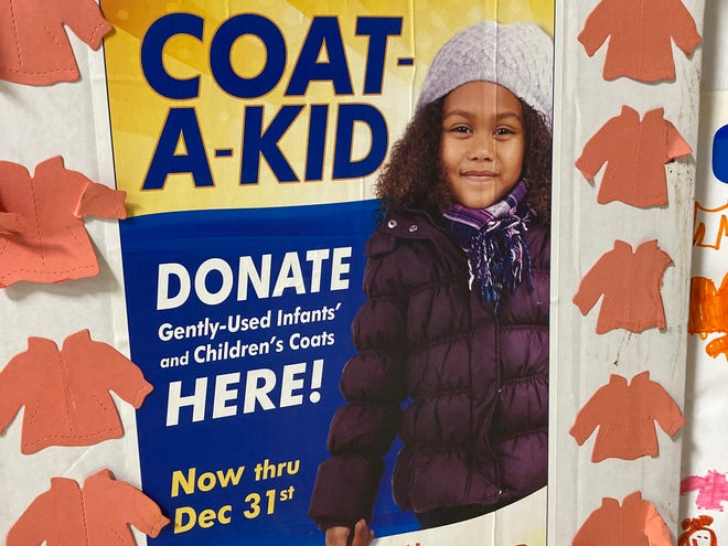 A donation box for the Coat-A-Kid program.