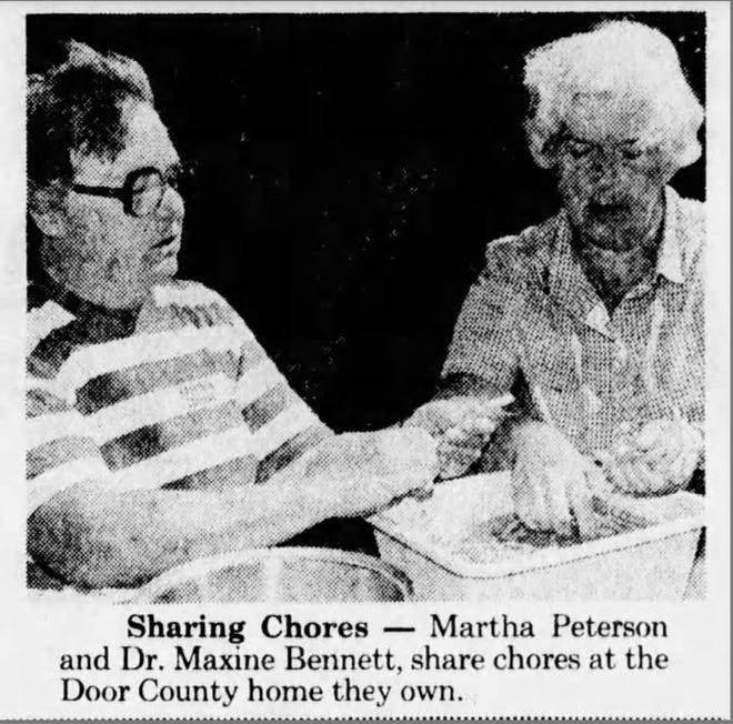A photo of Maxine Bennett and Martha Peterson at their Door County home, featured in an Aug. 24, 1978 issue of the Green Bay Press-Gazette.