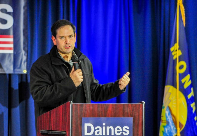 Senator Marco Rubio delivers a campaign speech for Sen. Steve Daines at the Heritage Inn on Tuesday, October 27, 2020.