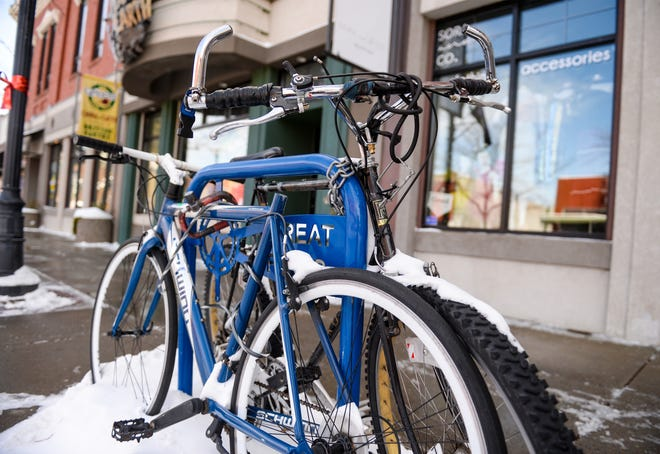 Bikes locked up on a bike rack on Central Avenue in downtown Great Falls.