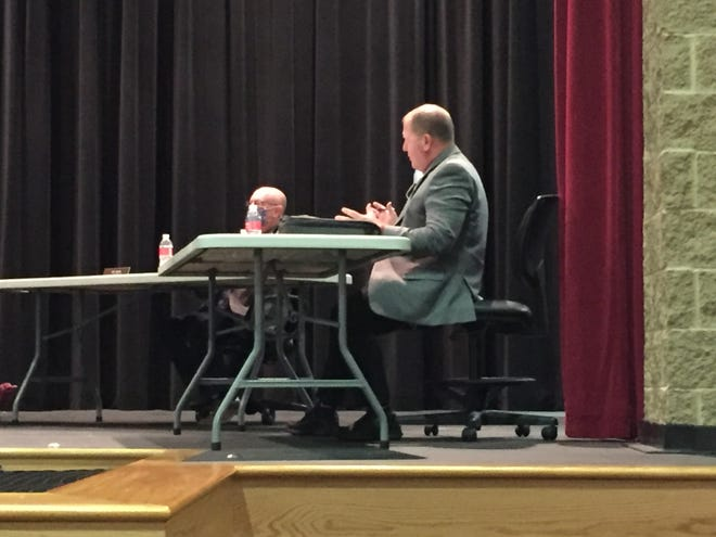 Shelby Assistant Superintendent Paul Walker gives an update at Monday's school board meeting.
