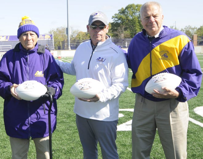 Ashland University has only had three head football coaches since 1959: College Football Hall of Fame enshrinee Fred Martinelli (left), Martinelli's former assistant Gary Keller (right) and current boss Lee Owens.
